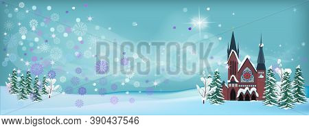 Winter Christmas Landscape. A Church Or Cathedral On The Background Of A Fabulous Snowstorm. Christm