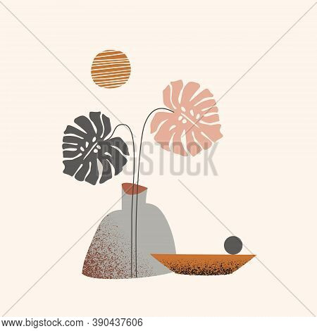 Abstract Landscape Concept: Tropical Monstera Leaf One Line Art, Geometric Shapes, Grunge Texture. V