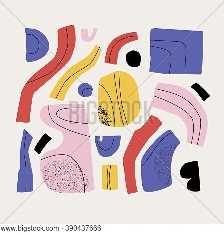 Abstract Shapes, Elements Vector Illustrations Set. Hand Drawn Colorful Abstract Art Collage In Retr
