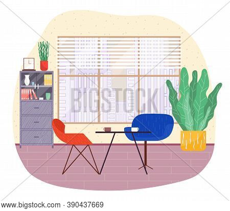 Cafe Interior, Table With Cups, Two Comfortable Armchairs, Break For Coffee, Place For Relax, Window