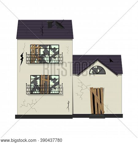 One-story Old Dilapidated House Before Renovation. Cartoon Style. Vector Illustration.
