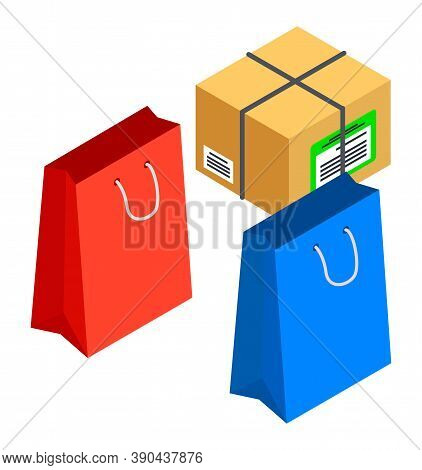 Shopping Purchase, Isometric 3d Illustration Of Colorful Packages And Parcel, Delivery Box, Elements