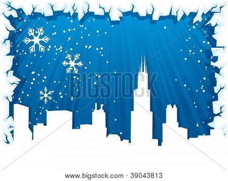 Chicago city winter background with ice border and silhouette