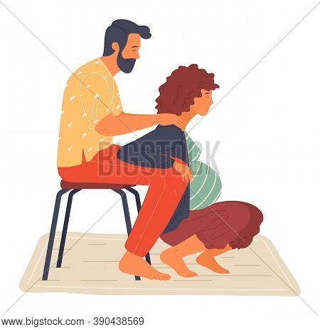 Birth Position For Pregnant Woman, Husband Help Wife To Relax, Making Massage Of Shoulders, Comforta