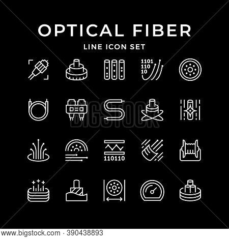 Set Line Icons Of Optical Fiber Isolated On Black. Cable, Plug, Wire, Cord, Broadband Connection, In