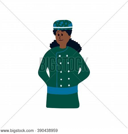 Illustration Of An Ethnic Womens Bakery. Stylized Idea Of Women Baker. Cartoon Character Drawn By Ha