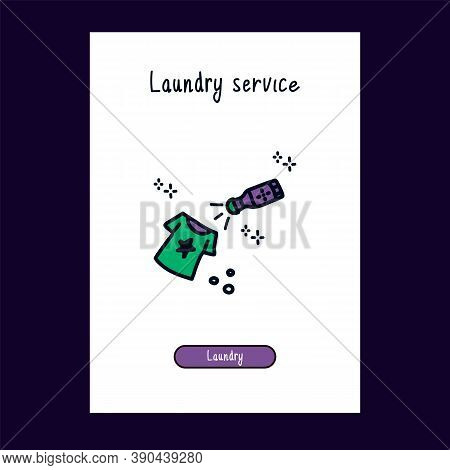 Cartoon Icon Cleaning Clothes From Stains For Laundry Service. Logo For The Laundry Room In The Styl