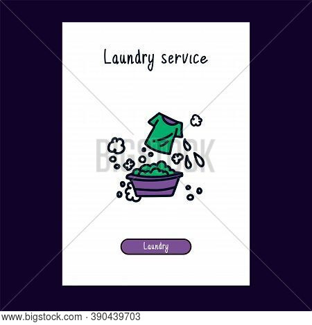 For The Web, The Laundry Service Icon Is In Color. Cartoon Cute Icons In Doodle Style For Web Laundr