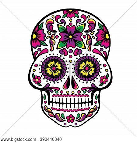 Mexican Sugar Skull, Dia De Los Muertos, Skull Vector.