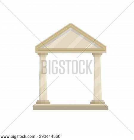 Ancient Greek And Roman Building With Stairs, White Columns And Pediment.