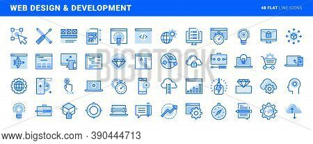 Set Of Flat Line Icons Of Web Design And Development. Vector Concepts For Websites, Mobile Websites