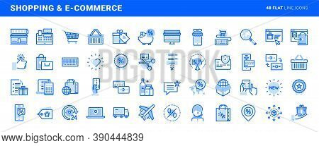 Set Of Flat Line Icons Of Shopping And E-commerce. Vector Concepts For Website And App Design And De