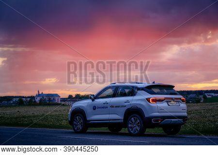 Kreva, Belarus - June 1, 2020: Changan Cs35 Plus Is Parked On Road At Sunset