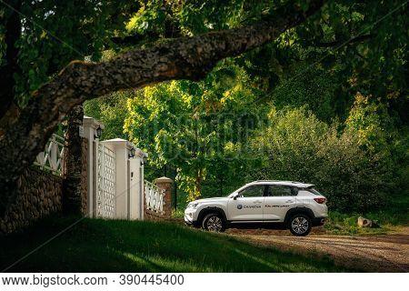 Kreva, Belarus - June 1, 2020: Changan Cs35 Plus Is Parked Near The Country Villa