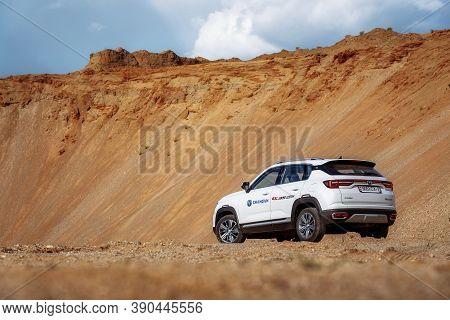Kreva, Belarus - June 1, 2020: Changan Cs35 Plus On Country Road In Desert With Mountains In Backgro