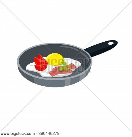 Kitchen Frying Pan With A Nutritious Breakfast. Omelet With Pieces Bacon.
