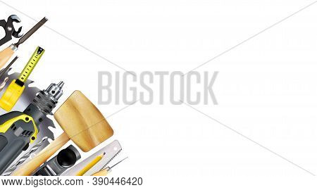 3d Composition Of Set Tools Of Joinery, Carpentry Craft Or Construction Isolated On White Background