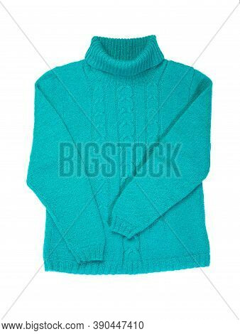 Sweater Isolated On White Background. Blue Warm Pullover With A Pattern. Winter Sweater.