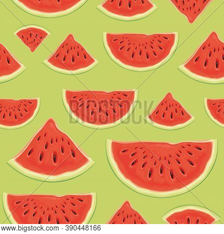 Fruit Seamless Pattern With Appetizing Slices Of A Red Sweet Watermelon On A Light Green Backdrop. V
