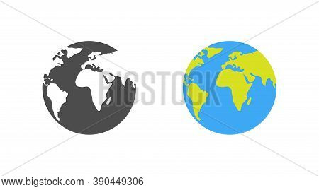 Earth. Template Earth Globe, Isolated. Shape Of Planet Map Earth. World Vector Icon. Vector Illustra