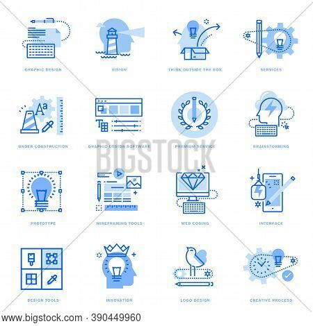 Set Of Flat Line Icons Of Graphic Design And Creative Process. Vector Concepts For Website And App D