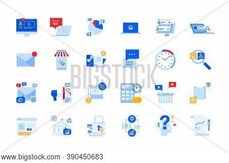 Modern Flat Design Icons Of Online Communication, Internet Advertising, E-commerce, E-banking. Vecto