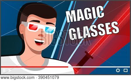 Male Professional Gamer Tell About New Magic Glasses For Computer Games. Young Man Blogger Creating