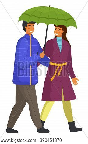 Couple Goes In Rain. Happy Man And Woman Are Walking Along City Street Under An Umbrella Isolated On
