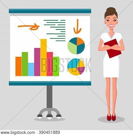 Confident Young Woman Gives A Report, Smiling Businesswoman Standing Near Flipchart With Statistical