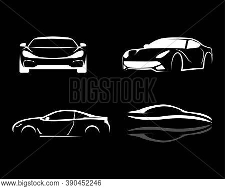 Set Of Modern Car Silhouette. Vector Illustration