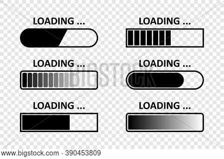 Loading. Load Bar Vector Icons, Isolated. Loading Icons Collection. Vector Illustration