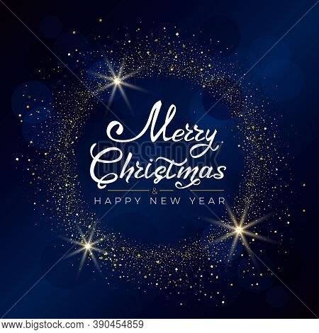 Merry Christmas And Happy New Year 2021. Greeting Card With Hand Drawn Lettering Gold Glittering Rou
