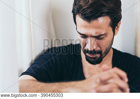 Stressed Guy Crying And Missing His Family. Poor Man Get Hopeless. Handsome Male Lose His Job And Lo