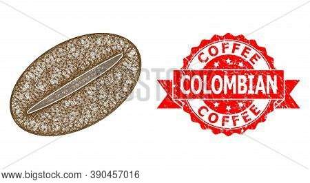 Wire Frame Coffee Bean Icon, And Coffee Colombian Corroded Ribbon Stamp Seal. Red Stamp Seal Has Cof