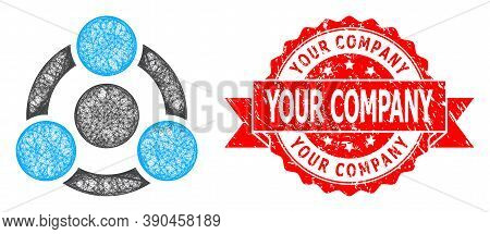 Wire Frame Collaboration Icon, And Your Company Rubber Ribbon Seal Print. Red Stamp Seal Includes Yo
