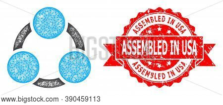 Network Cooperation Icon, And Assembled In Usa Grunge Ribbon Stamp Seal. Red Stamp Seal Contains Ass