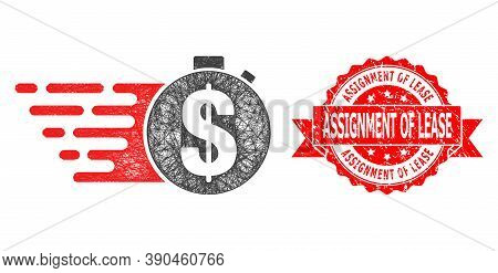 Wire Frame Credit Meter Icon, And Assignment Of Lease Unclean Ribbon Stamp. Red Stamp Seal Contains