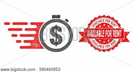 Wire Frame Credit Time Icon, And Available For Rent Rubber Ribbon Stamp Seal. Red Stamp Seal Include