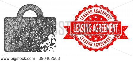 Network Damaged Luggage Icon, And Leasing Agreement Textured Ribbon Stamp Seal. Red Stamp Seal Conta