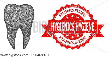 Network Dental Tooth Icon, And Hygienics, Hygiene Textured Ribbon Seal Imitation. Red Stamp Seal Inc
