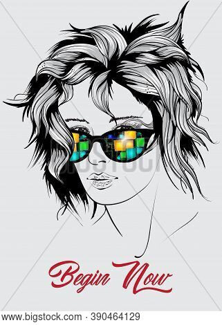 Beautiful Woman Face  In Sunglasses Hand Drawn Vector Illustration Sketch