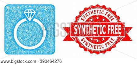Net Diamond Ring Icon, And Synthetic Free Textured Ribbon Stamp Seal. Red Stamp Seal Contains Synthe