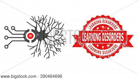Network Digital Neural Connection Icon, And Learning Disorders Rubber Ribbon Seal Imitation. Red Sea
