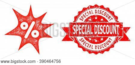 Network Discount Boom Icon, And Special Discount Corroded Ribbon Stamp Seal. Red Stamp Seal Includes