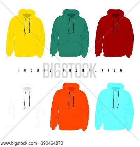 Set Mock Up Of Hoodie Sweater View From The Front Vector Illustration. Good Template For Hoodie Swea