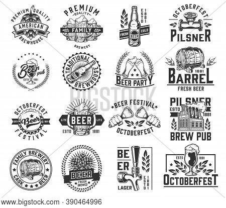 Vintage Brewing Badges With Beer Glass Cups Mugs Wooden Casks Bottles Openers Caps Tap Hop Cones Pip
