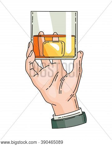 Hand Holding Glass With Strong Drink Whiskey. Vintage Hand Drawing Vector Illustration. Drink Tequil