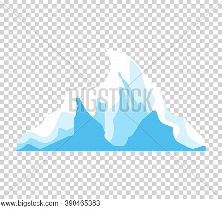 Iceberg. Cartoon Floating Iceberg. Drifting Iceberg Or Isolated Frozen Ocean Water, Crystal Icy Moun