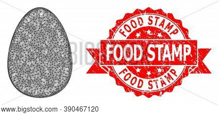 Wire Frame Egg Icon, And Food Stamp Scratched Ribbon Stamp Seal. Red Stamp Seal Contains Food Stamp