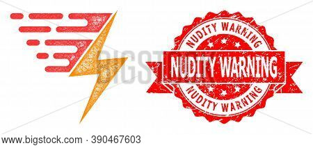 Wire Frame Electric Power Icon, And Nudity Warning Textured Ribbon Stamp Seal. Red Stamp Seal Has Nu